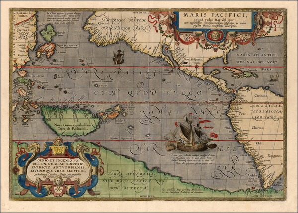 66-World, Western Hemisphere, Polar Maps, South America, Pacific and America Map By Abraham Orteli