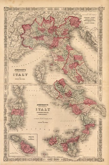 37-Europe, Italy and Balearic Islands Map By Benjamin P Ward  &  Alvin Jewett Johnson