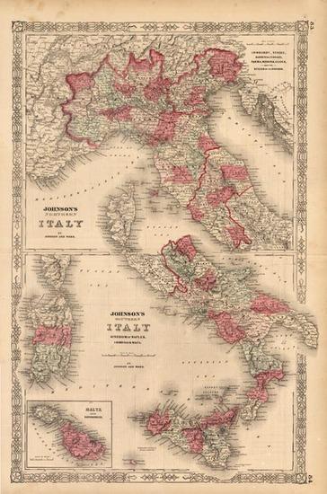 5-Europe, Italy and Balearic Islands Map By Benjamin P Ward  &  Alvin Jewett Johnson