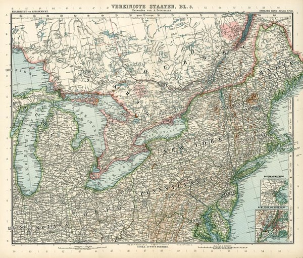 41-New England, Mid-Atlantic and Midwest Map By Adolf Stieler