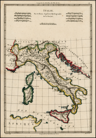 45-Europe and Italy Map By Rigobert Bonne