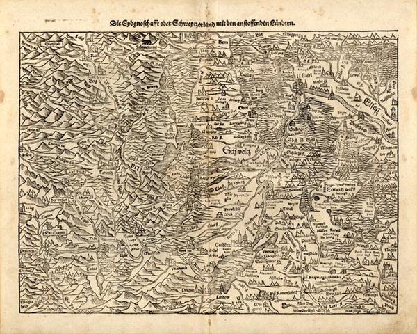 80-Europe and Switzerland Map By Sebastian Munster