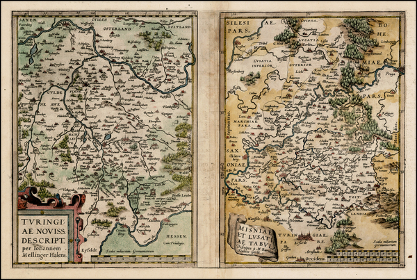 77-Germany and Czech Republic & Slovakia Map By Abraham Ortelius