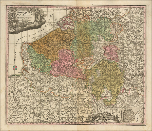 18-Belgium Map By Matthaus Seutter