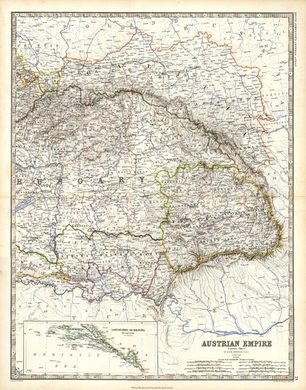 43-Europe, Austria, Poland and Balkans Map By W. & A.K. Johnston