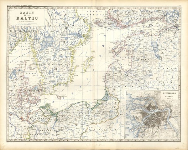 32-Europe, Russia, Baltic Countries and Scandinavia Map By W. & A.K. Johnston