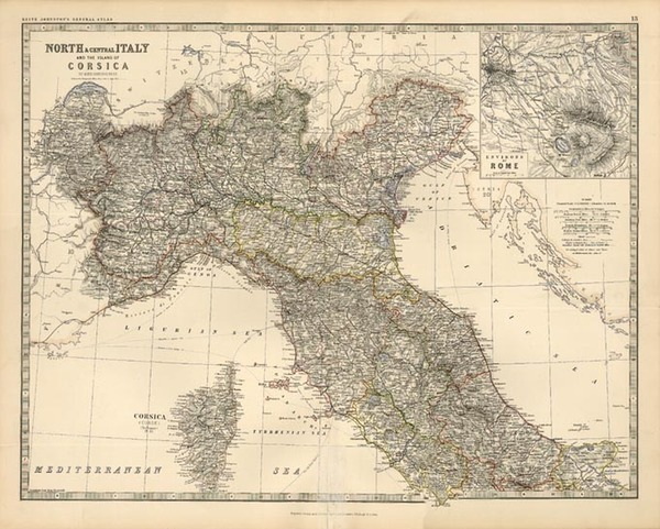 58-Europe, Italy and Balearic Islands Map By W. & A.K. Johnston
