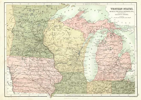 36-Midwest Map By Adam & Charles Black