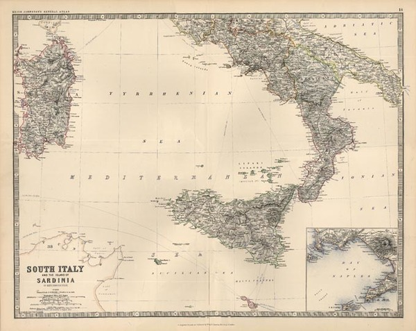 34-Europe, Italy and Balearic Islands Map By W. & A.K. Johnston