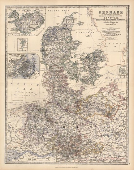 88-Europe, Germany, Baltic Countries, Scandinavia and Balearic Islands Map By W. & A.K. Johnst