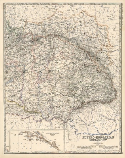 70-Europe, Austria, Poland, Hungary and Balkans Map By W. & A.K. Johnston