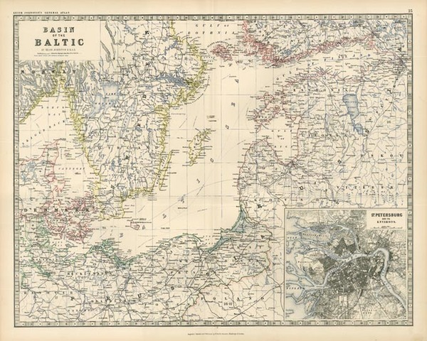 71-Europe, Russia, Baltic Countries and Scandinavia Map By W. & A.K. Johnston