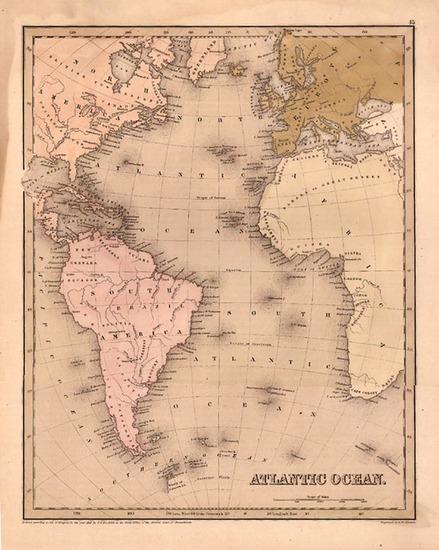 46-World, Atlantic Ocean, South America and America Map By Thomas Gamaliel Bradford  &  Goodri