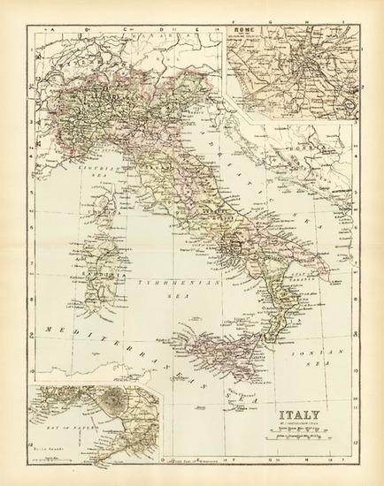 45-Europe and Italy Map By J. Bartholomew