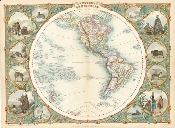 82-World, World, Western Hemisphere, South America and America Map By John Tallis