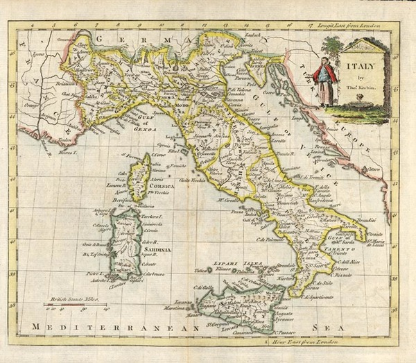 13-Europe, Italy and Balearic Islands Map By Thomas Kitchin