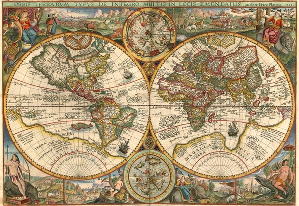 13-World, World, Curiosities and Celestial Maps Map By Petrus Plancius