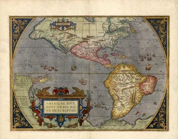 62-World, Western Hemisphere, South America and America Map By Abraham Ortelius