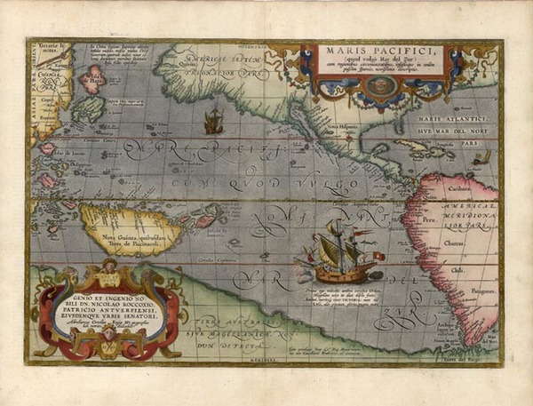 50-World, Western Hemisphere, Polar Maps, South America, Pacific and America Map By Abraham Orteli