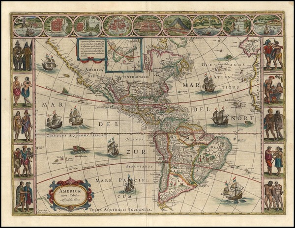 77-North America, South America and America Map By Willem Janszoon Blaeu