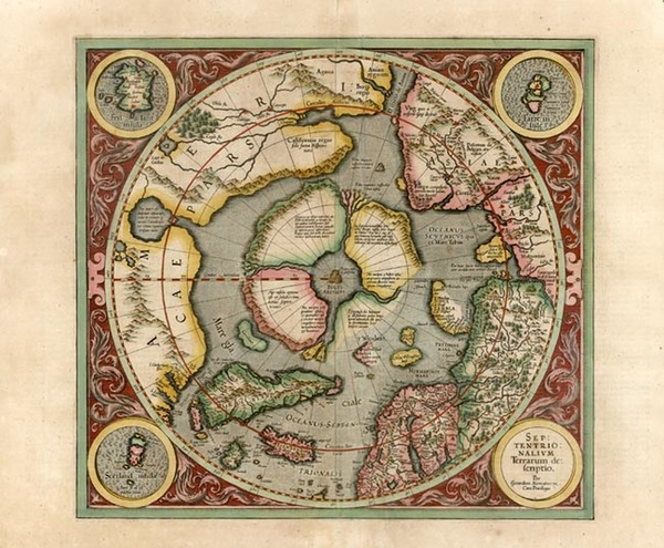 50-World, World, Polar Maps and Alaska Map By Gerard Mercator