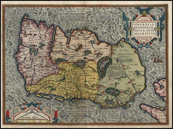 43-Ireland Map By Abraham Ortelius