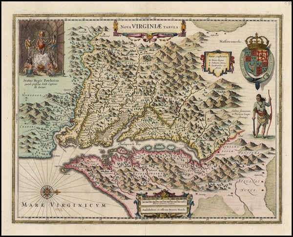 91-Mid-Atlantic and Southeast Map By Henricus Hondius