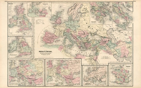 70-World, World, Europe, Europe, Italy and Mediterranean Map By G.W.  & C.B. Colton