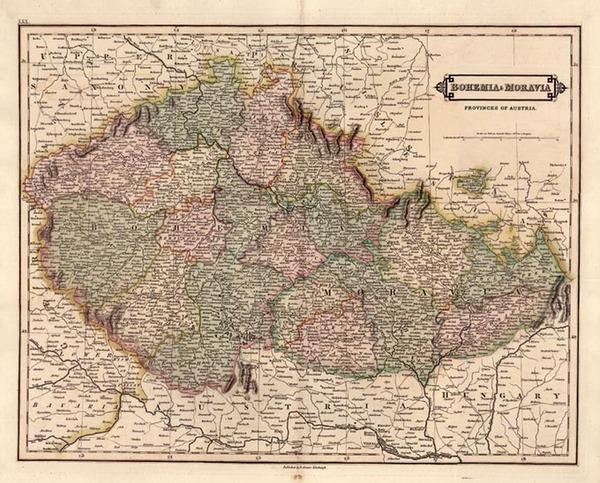 94-Europe, Austria and Czech Republic & Slovakia Map By Daniel Lizars