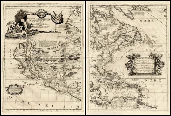 55-North America and California Map By Vincenzo Maria Coronelli