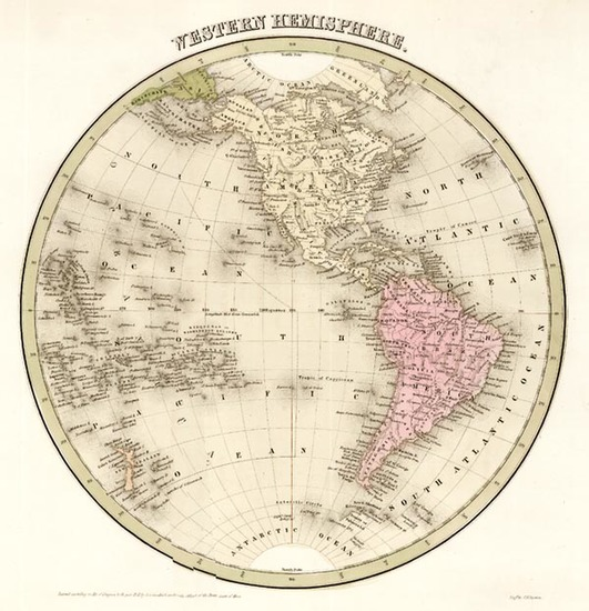 9-World, Western Hemisphere, South America and America Map By Thomas Gamaliel Bradford