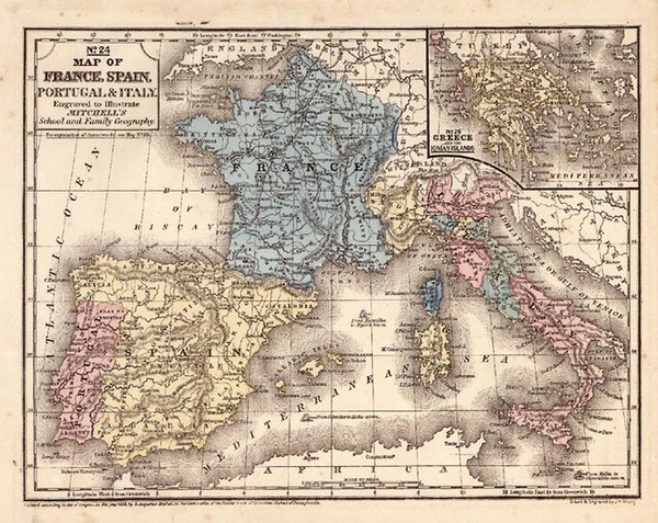 18-Europe, France, Italy, Spain and Portugal Map By Samuel Augustus Mitchell