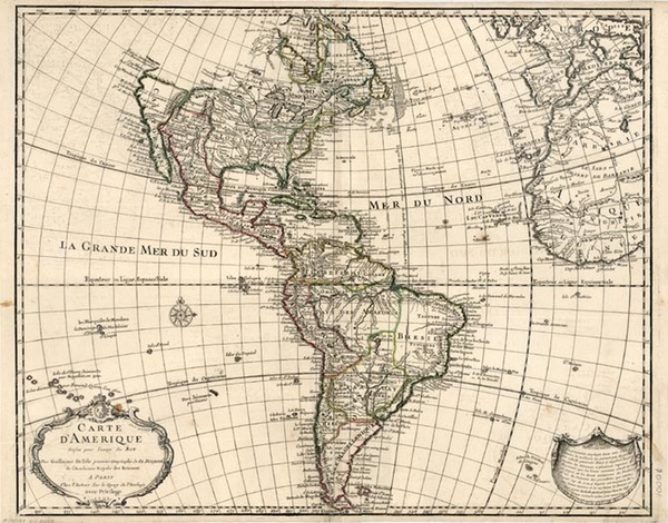 40-South America and America Map By Guillaume De L'Isle