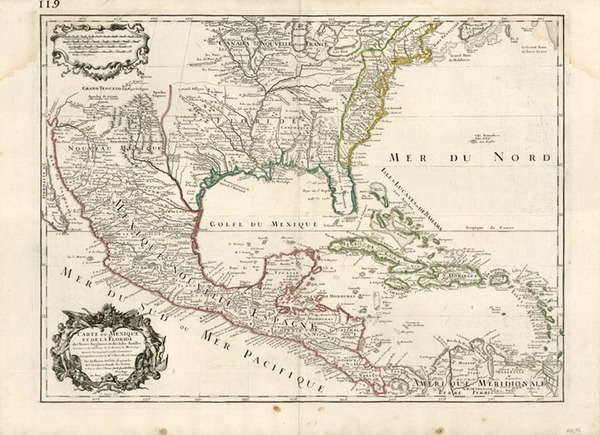 39-United States, Southeast, Texas and Midwest Map By Guillaume De L'Isle