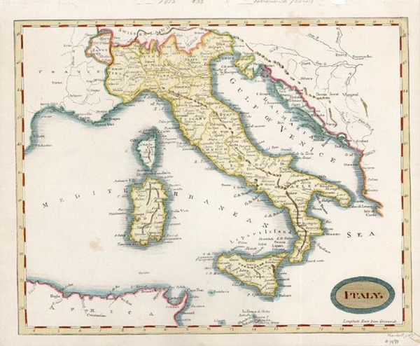 44-Europe and Italy Map By Aaron Arrowsmith
