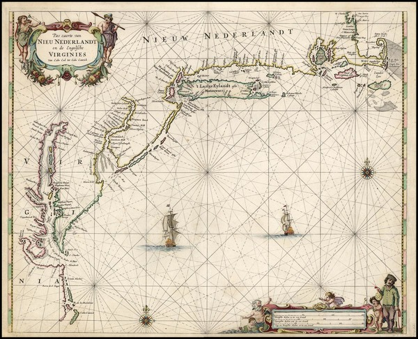 88-United States, New England, Mid-Atlantic and South Map By Pieter Goos