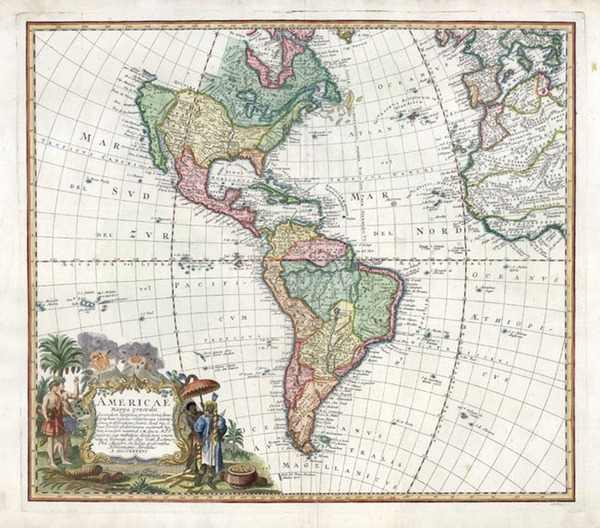 37-World, Western Hemisphere, South America and America Map By Homann Heirs