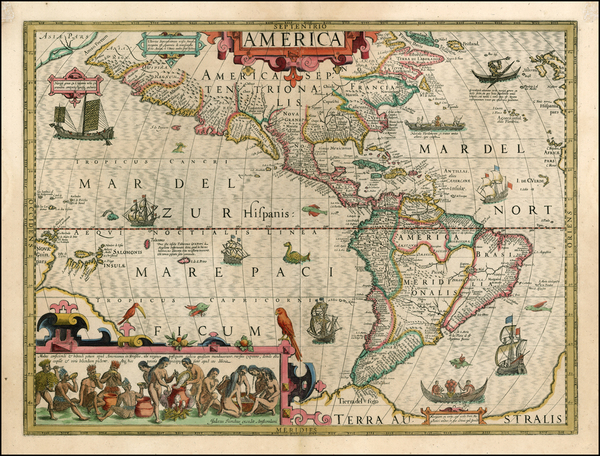 67-South America, Australia & Oceania, Australia, Oceania and America Map By Jodocus Hondius