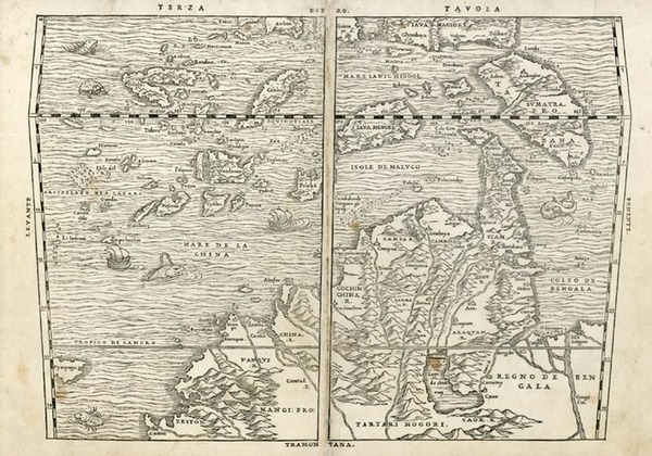 53-Asia, China, Japan, Southeast Asia and Philippines Map By Giovanni Battista Ramusio