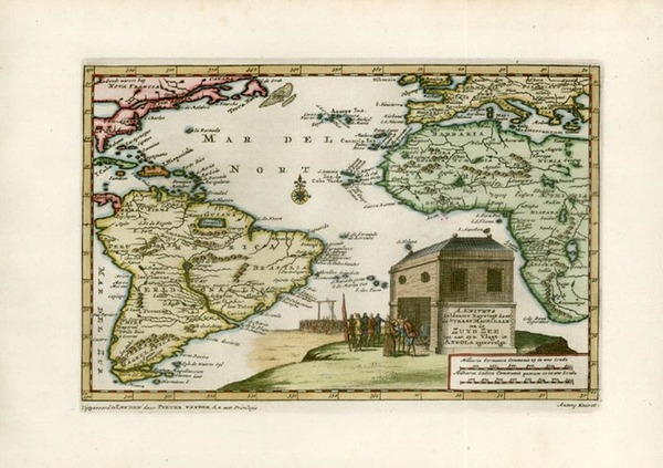 62-World, Atlantic Ocean, South America and America Map By Pieter van der Aa