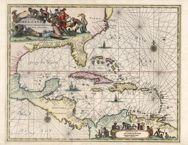 51-South, Southeast, Caribbean and Central America Map By John Ogilby