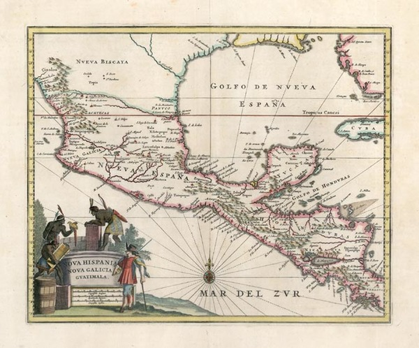 93-Southeast, Mexico, Caribbean and Central America Map By John Ogilby