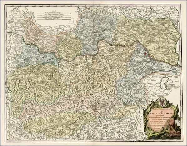 39-Austria Map By Gilles Robert de Vaugondy