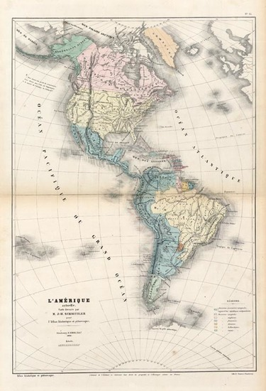 50-South America and America Map By J.H. Schnitzler