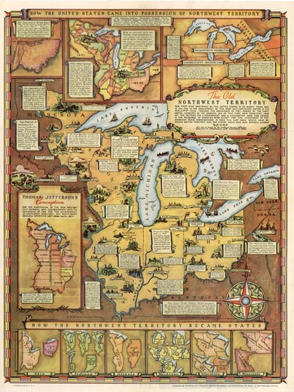 1-Midwest Map By Fred Rentscher / Federal Art Project, WPA