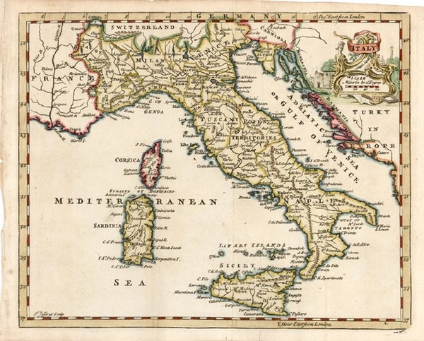95-Europe, Italy and Balearic Islands Map By Thomas Jefferys