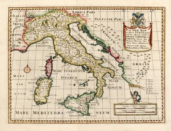 19-Europe, Italy and Balearic Islands Map By Edward Wells