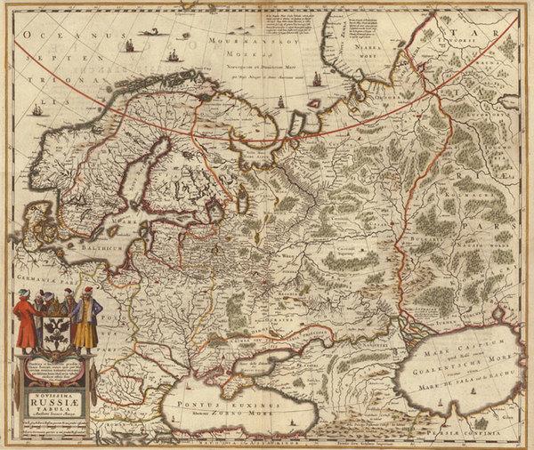 52-Europe, Europe, Russia, Balkans, Scandinavia, Asia and Russia in Asia Map By Henricus Hondius