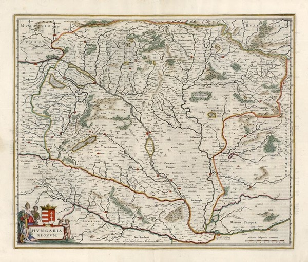 2-Europe, Austria and Hungary Map By Willem Janszoon Blaeu