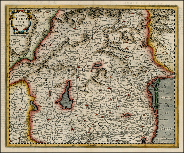 68-Switzerland and Italy Map By Jodocus Hondius - Michael Mercator